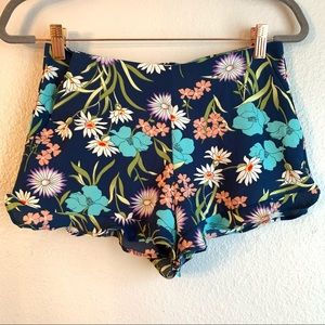 Forever21 Blue Floral Shorts Juniors XS Pockets